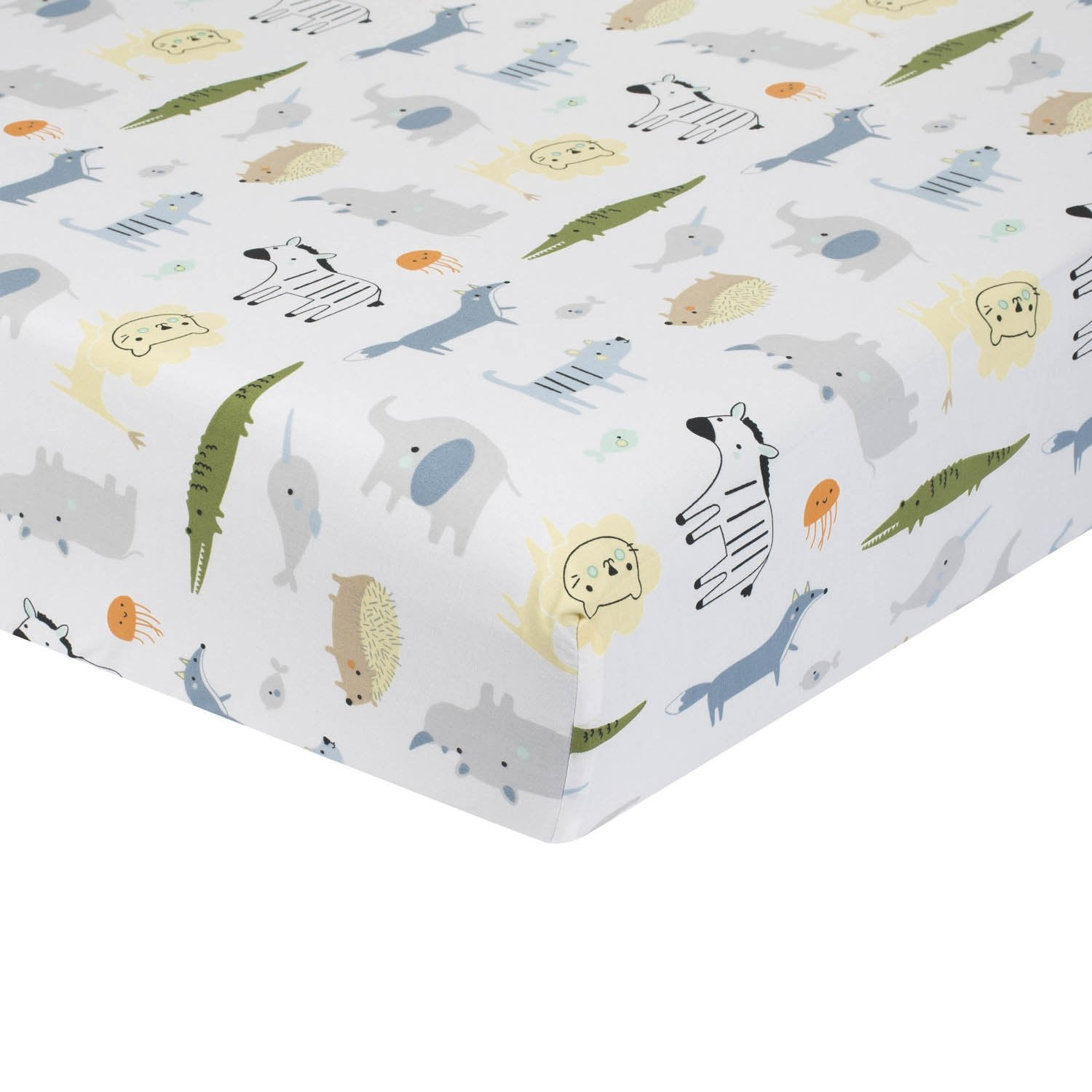 Just Born One World Collection Fitted Crib Sheet - Hello World-Gerber Childrenswear