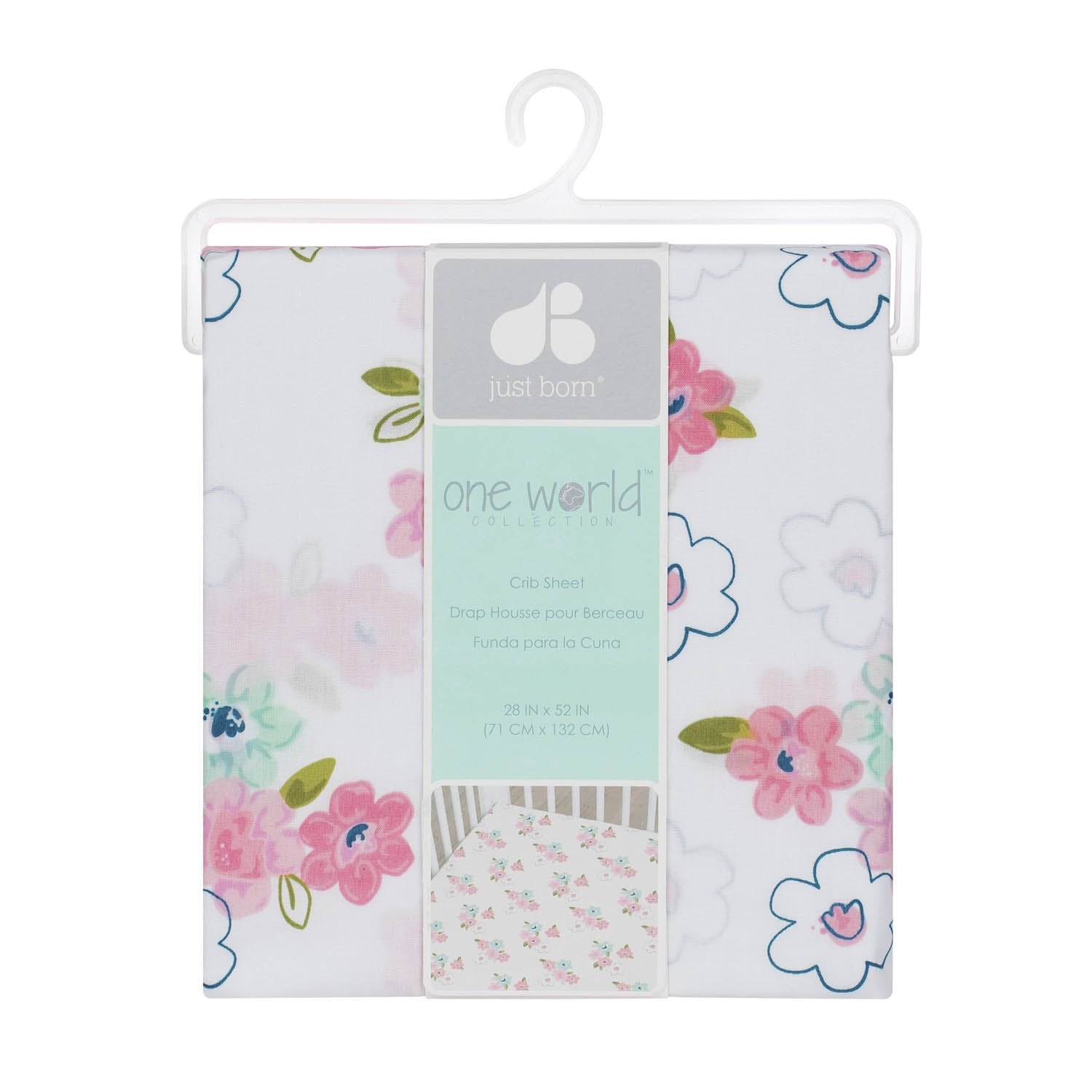 Just Born One World Collection Floral Fitted Crib Sheet - Blossom-Gerber Childrenswear