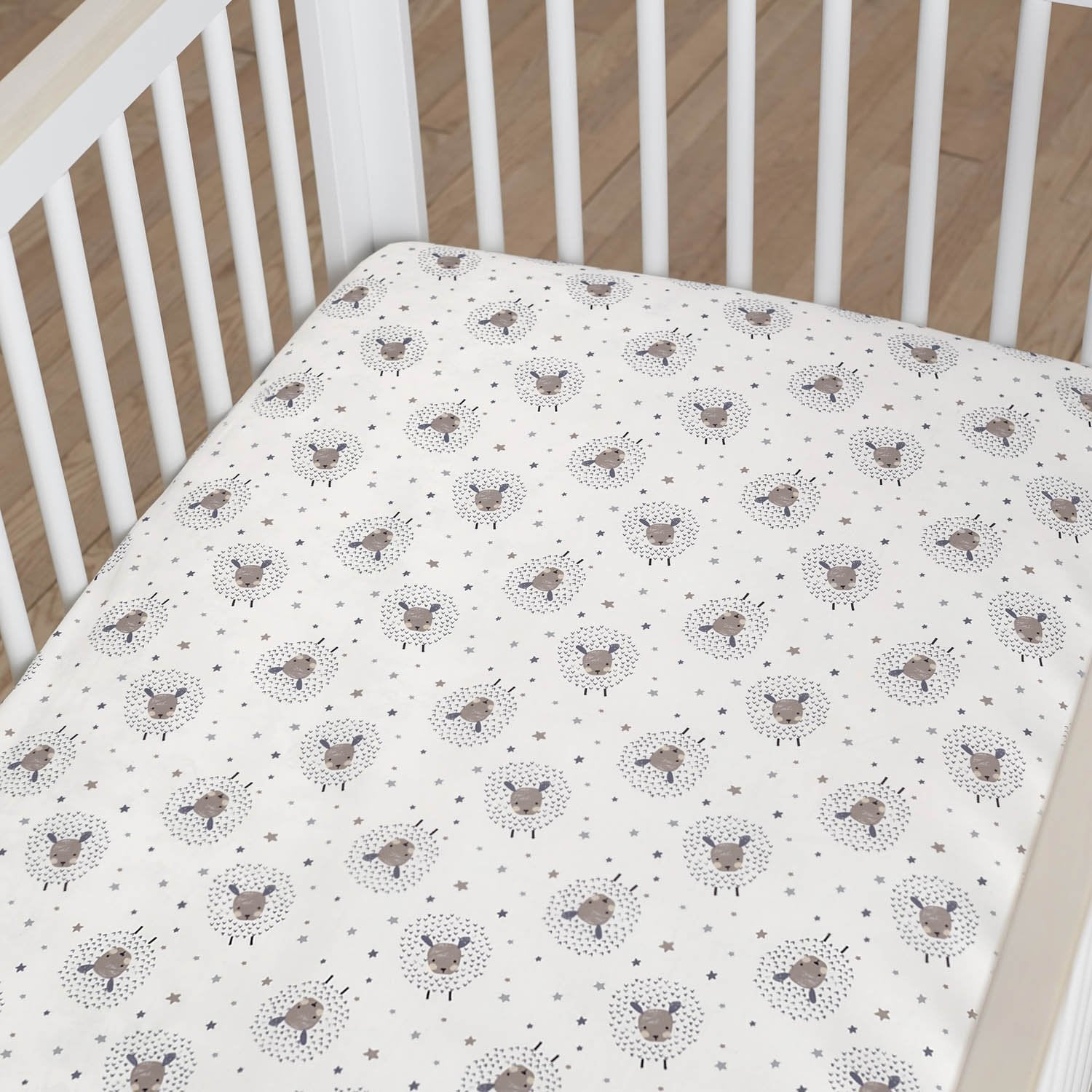 Just Born One World Collection Sheep Fitted Crib Sheet - Counting Sheep-Gerber Childrenswear