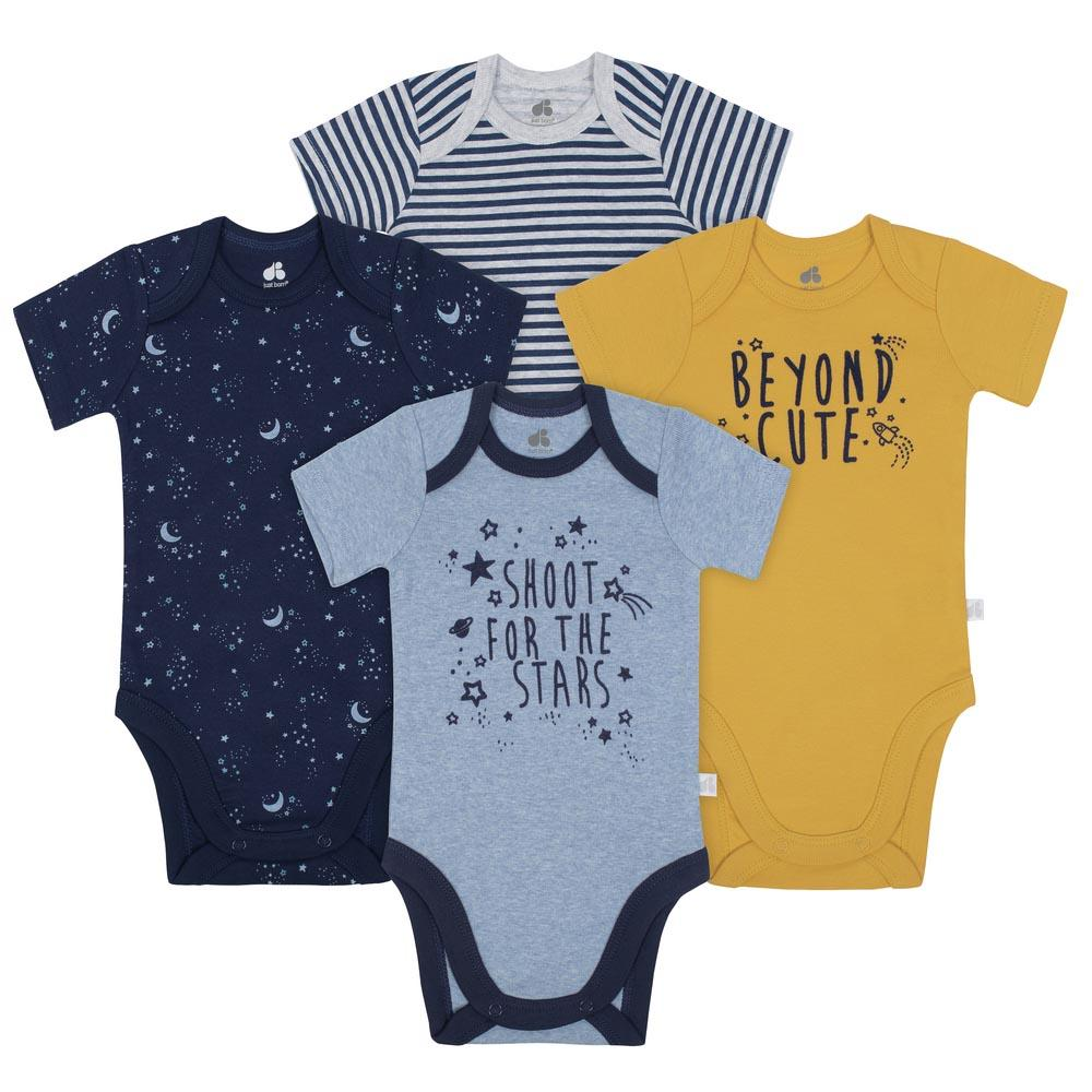 Just Born® Space 4-Pack Organic Short-Sleeve Bodysuits-Gerber Childrenswear