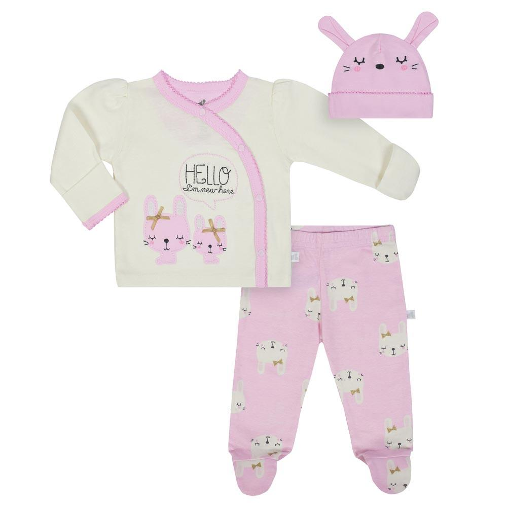 Baby Girls 3-Piece Organic Bunny Shirt, Pants & Cap Set