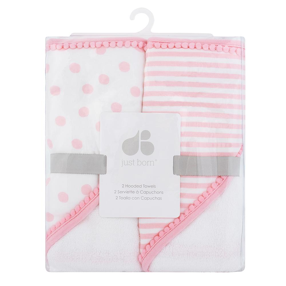 Just Born Baby Girl 2-pack Hooded Towels-Gerber Childrenswear