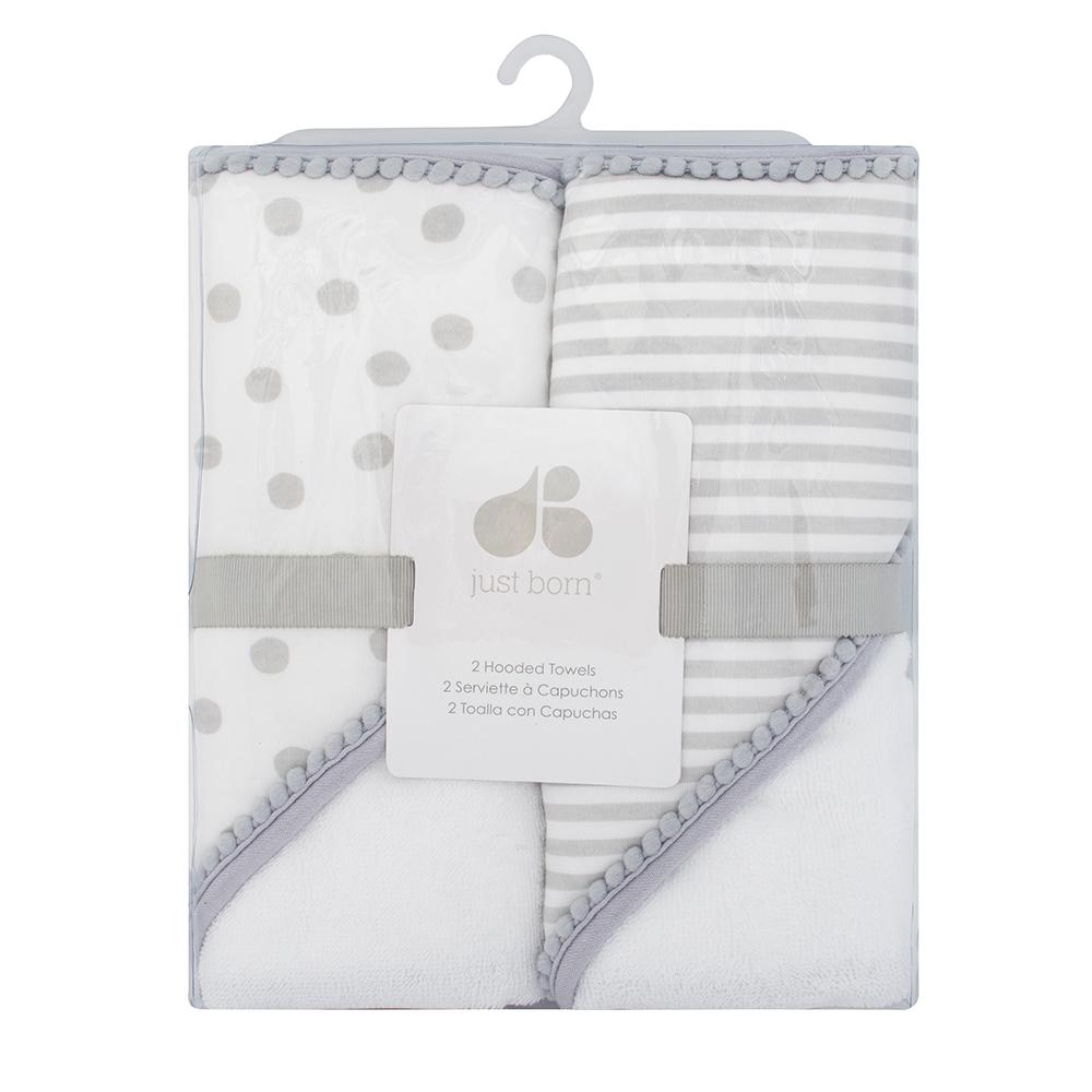 Just Born Neutral Baby 2-pack Hooded Towels-Gerber Childrenswear