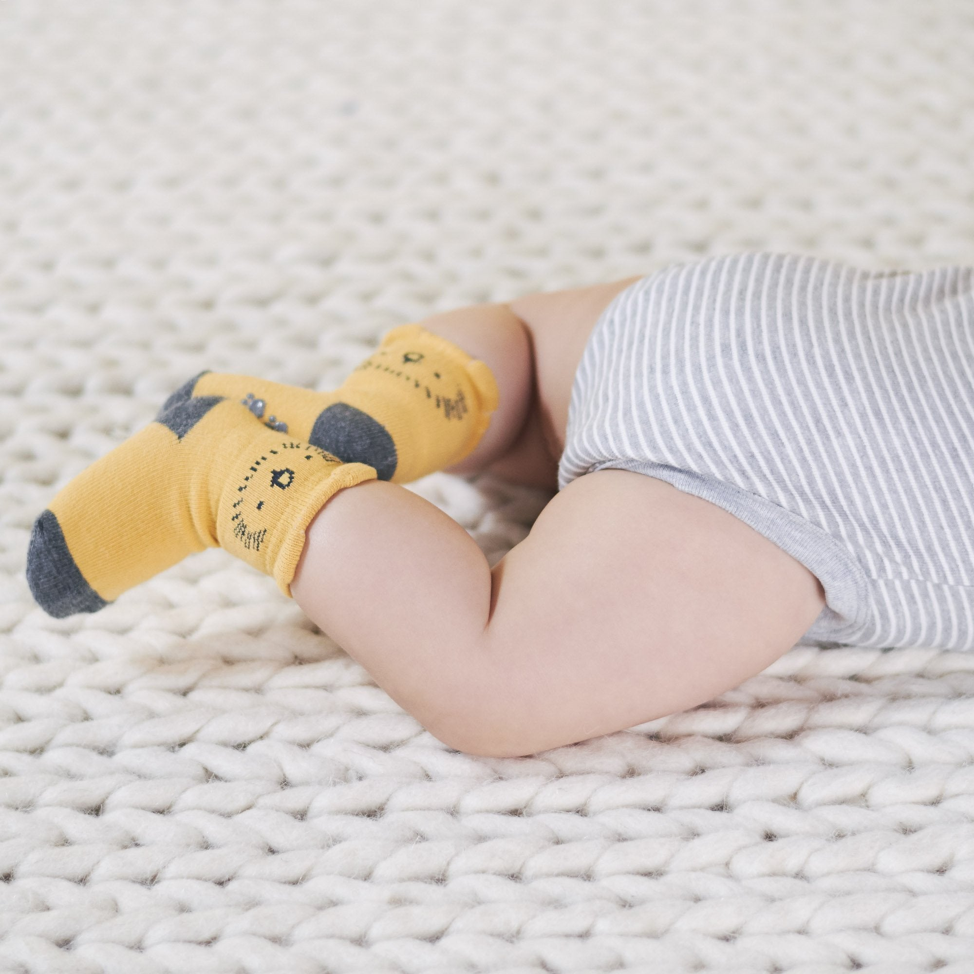 Just Born® Organic Baby Boys 6-Pack Lil' Lion Wiggle Proof Socks-Gerber Childrenswear