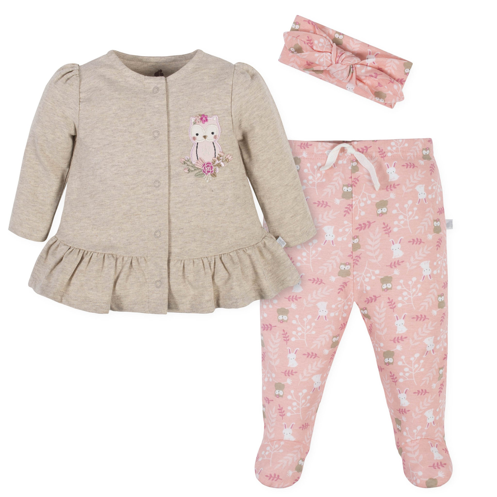 Baby Girls 3-Piece Top, Pants, and Headband Set-Gerber Childrenswear
