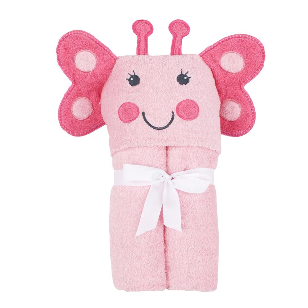 Just Born Love to Bathe Woven Butterfly Hooded Towel in Pink