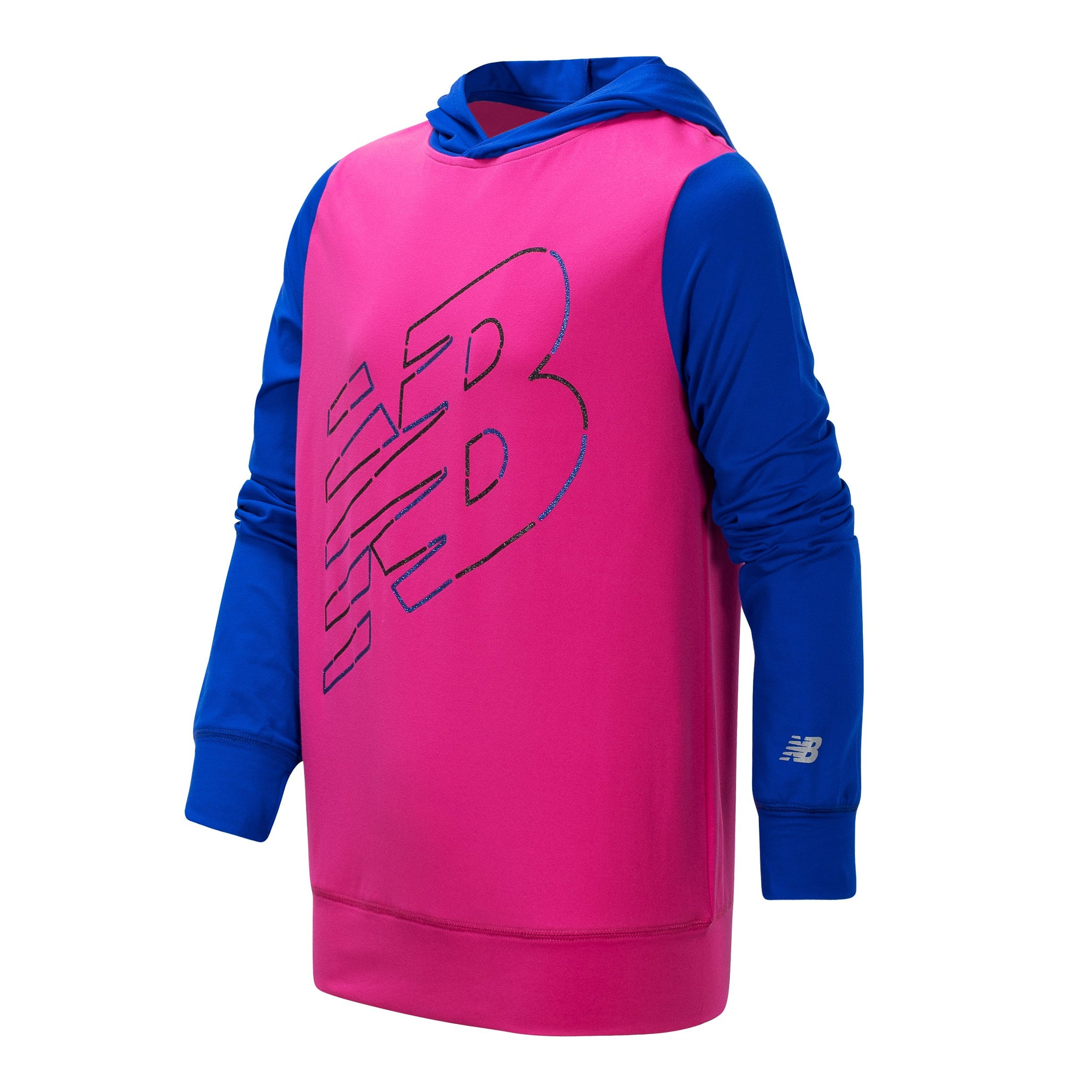 Girl's New Balance Carnival Pink and UV Blue Hooded Pullover