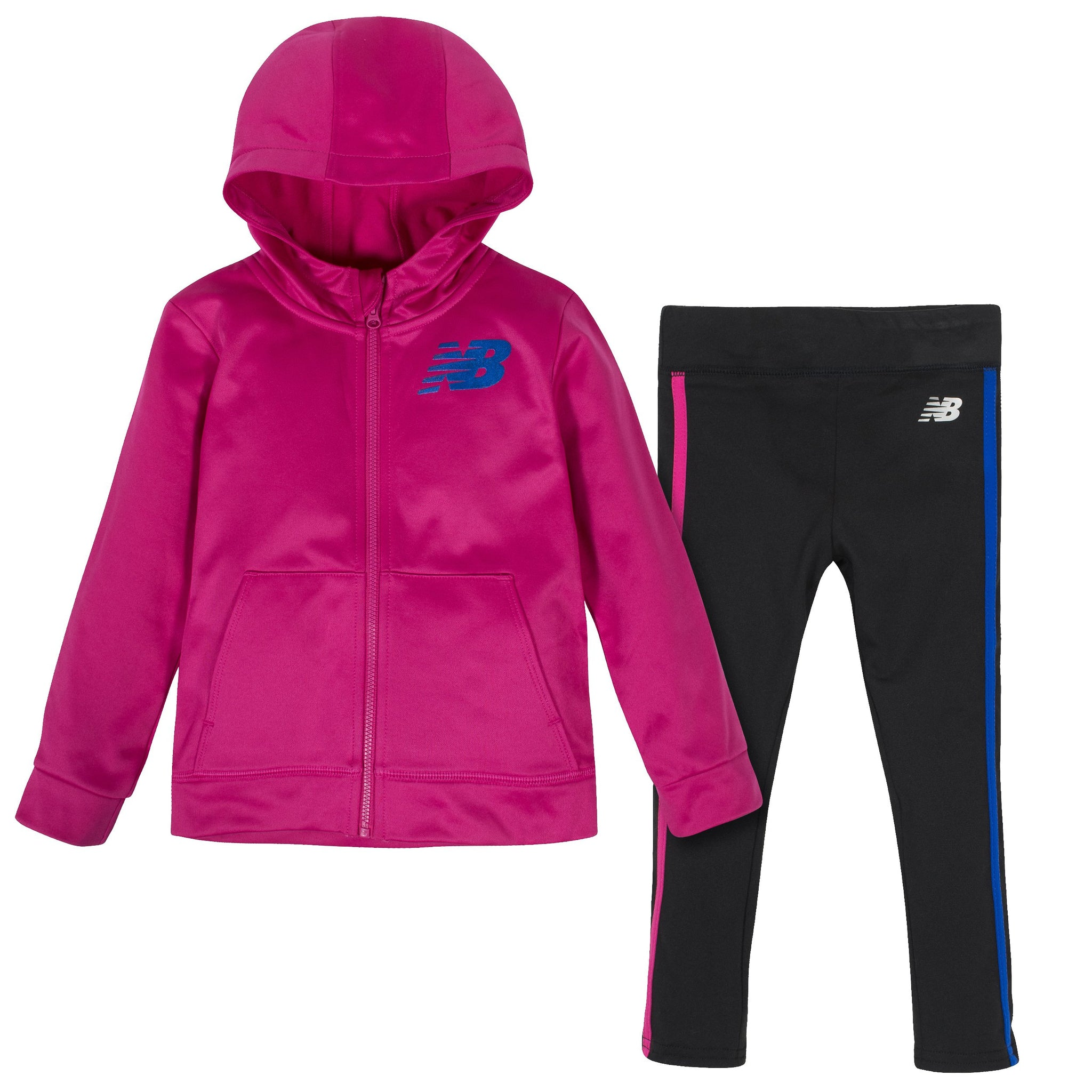 2-Piece New Balance Girls' Carnival Pink and Black Fleece Hooded Jacket and Tight Set