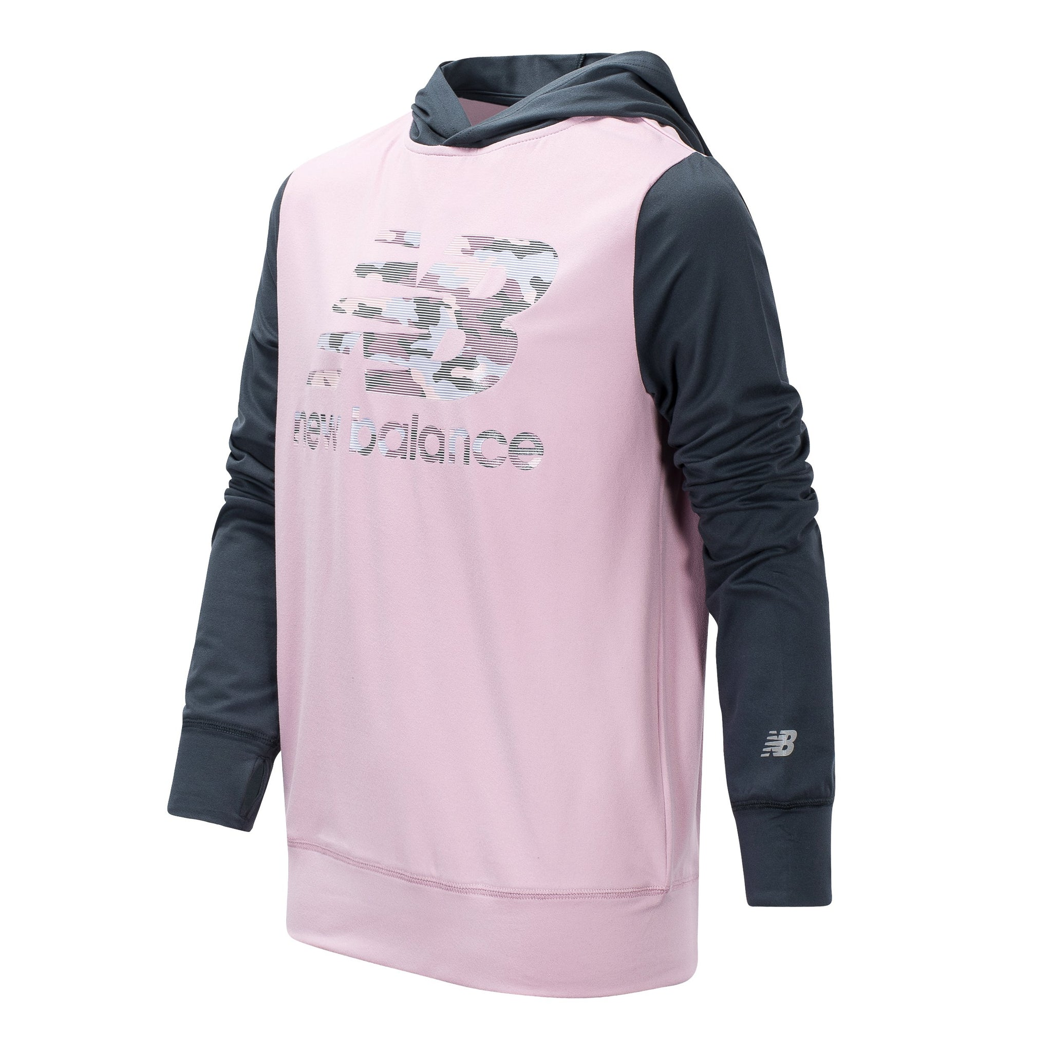 Girls' New Balance Oxygen Pink and Thunder Hooded Pullover