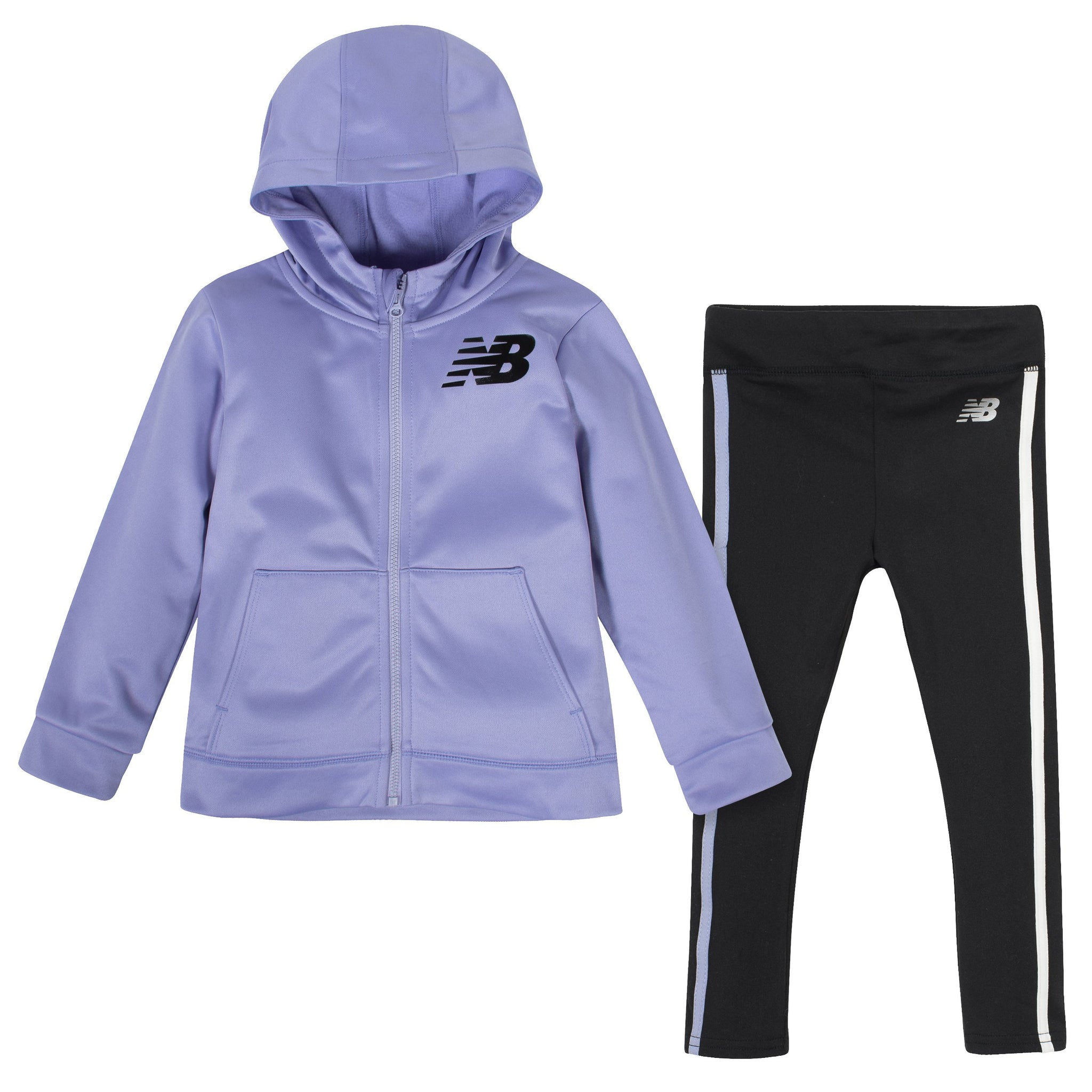 2-Piece New Balance Girls' Clear Amethyst and Black Hooded Jacket and Tight Set