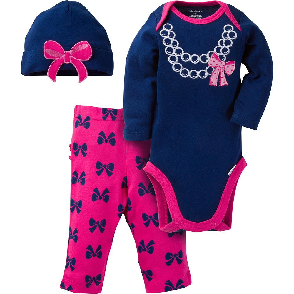 3-Piece Girls Bow Necklace Long-Sleeve Bodysuit & Pant Set