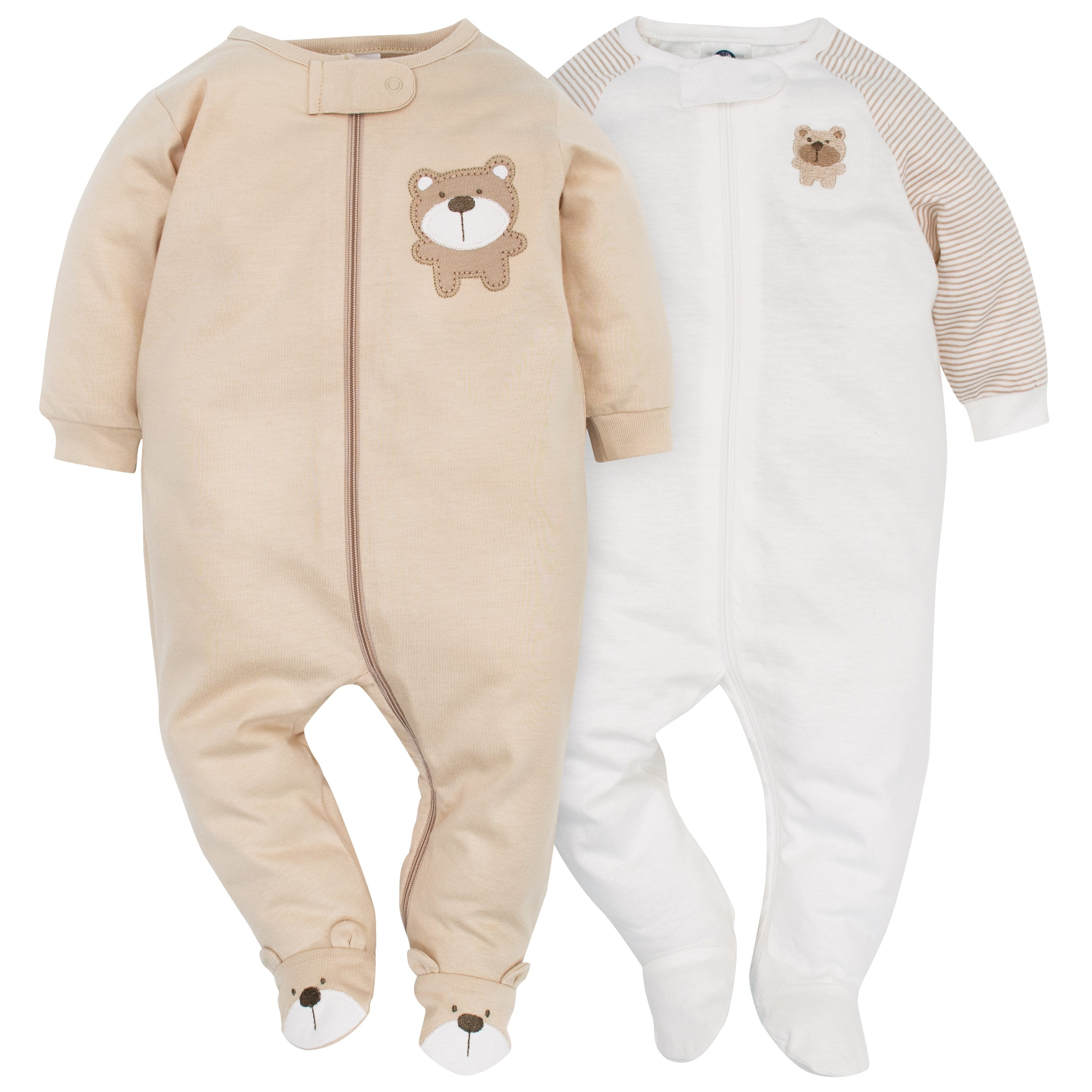 2 Pack Neutral Brown Bear Sleep N Play Gerber Childrenswear