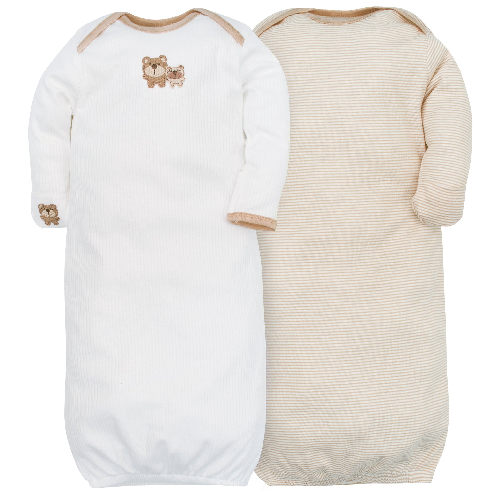 2-Pack Neutral Brown Bear Mitten Cuff Gowns-Gerber Childrenswear