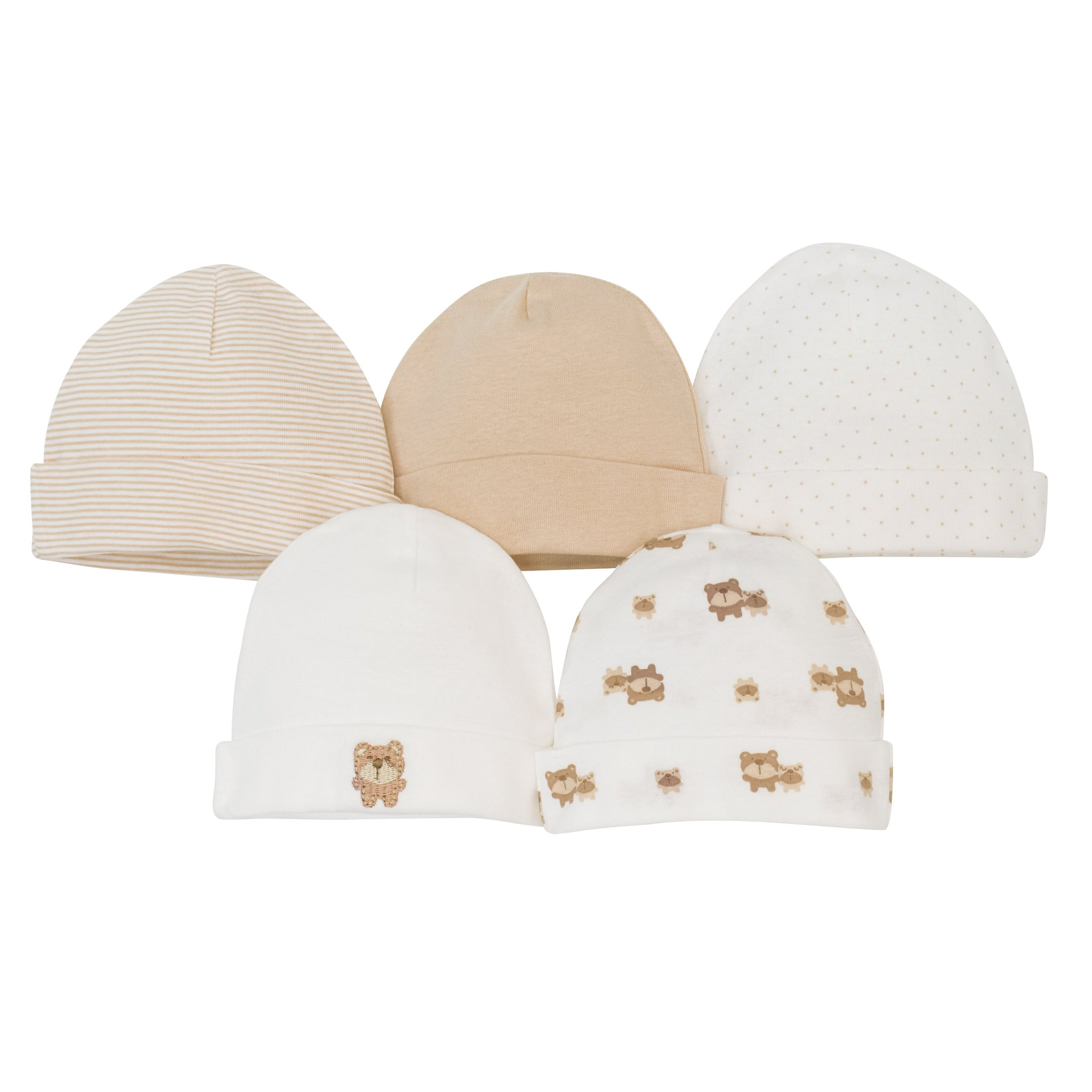 5-Pack Neutral Brown Bear Caps-Gerber Childrenswear