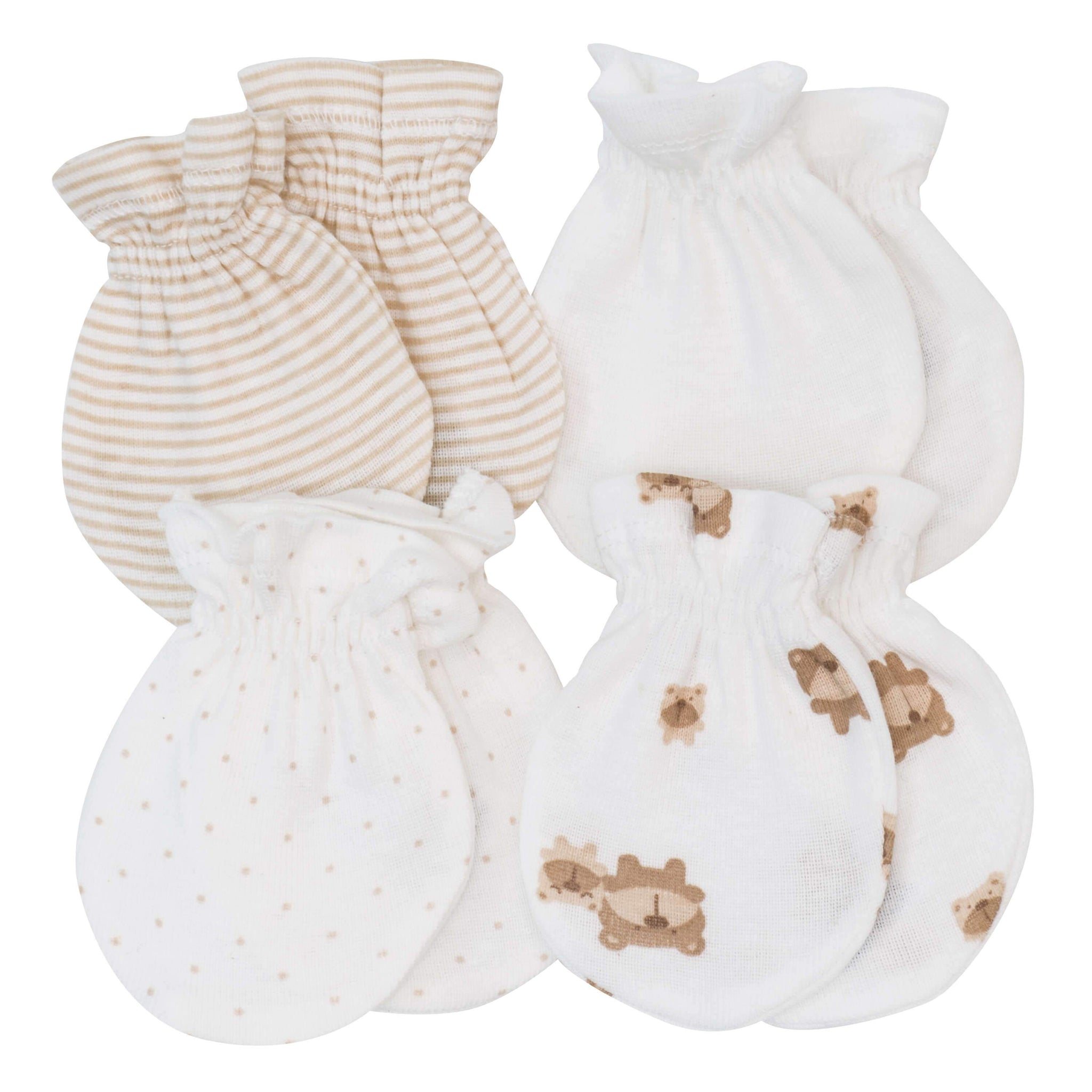 4-pack Neutral Brown Bear Variety Baby Mittens
