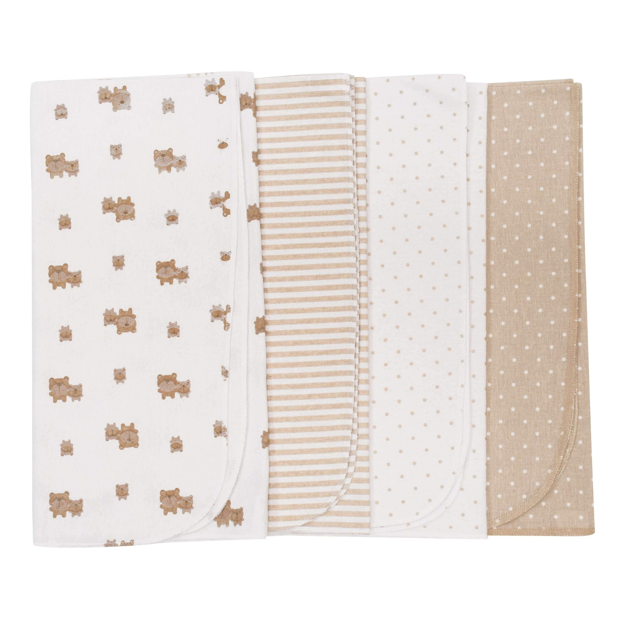 4-Pack Neutral Brown Bear Flannel Blankets-Gerber Childrenswear