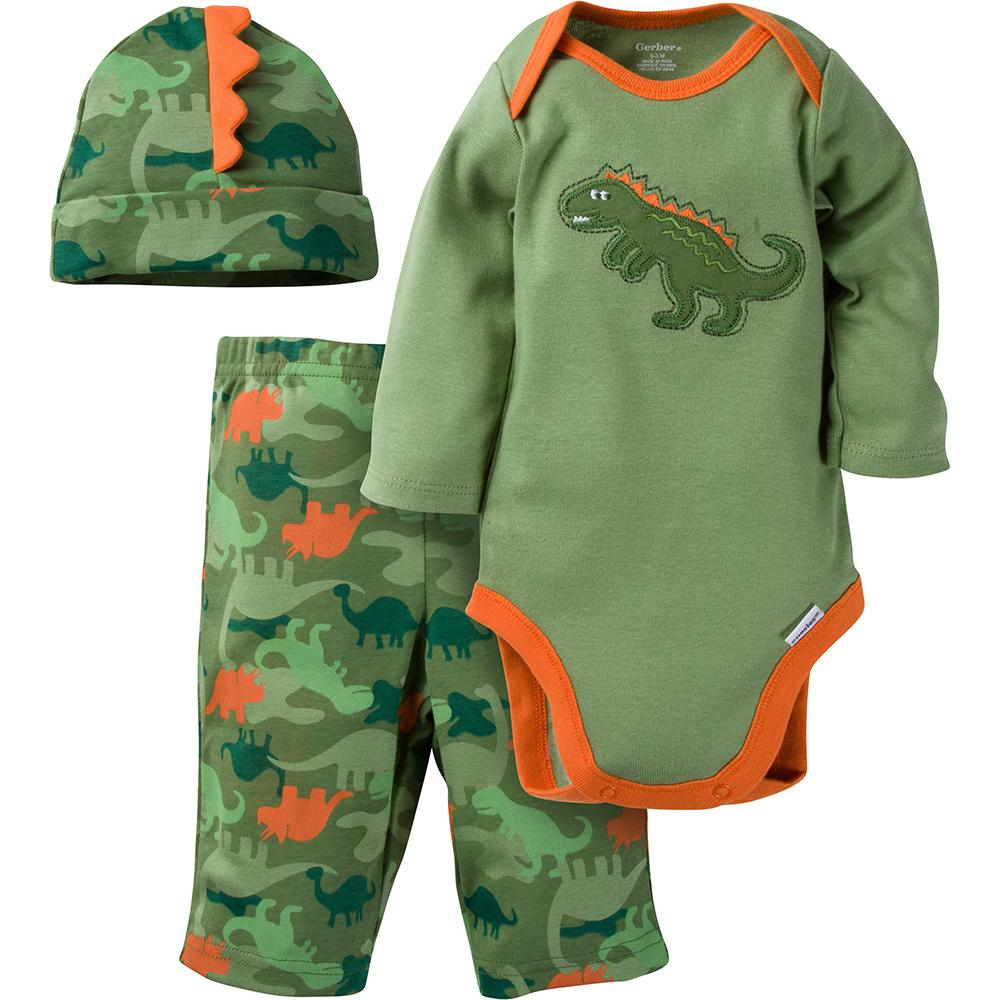 3-Piece Boys Dinosaur Bodysuit & Pant Set