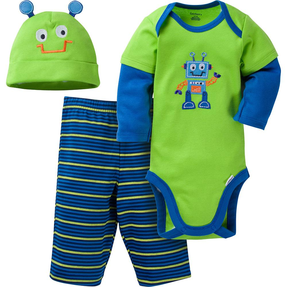 3-Piece Boys Robot Bodysuit & Pant Set