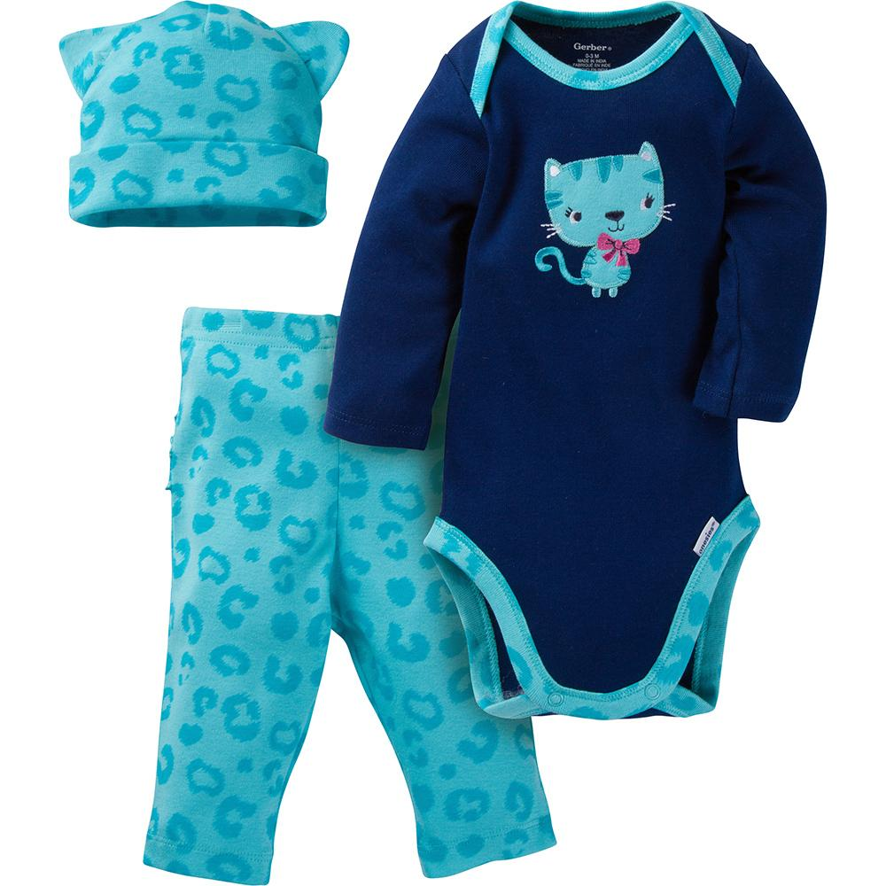 3-Piece Girls Kitty Cat Long-Sleeve Bodysuit & Pant Set
