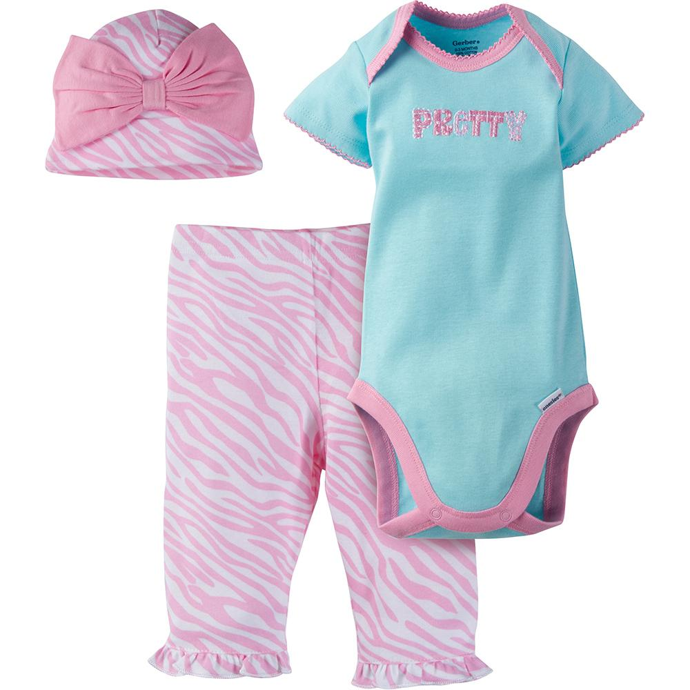 3-Piece Girls Pink Print Bodysuit & Pant Set