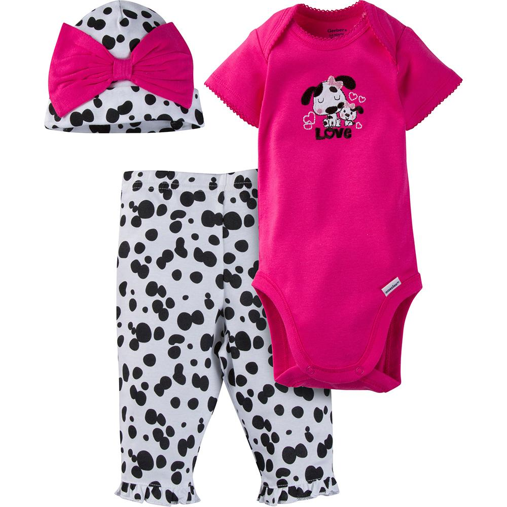 3-Piece Girls Dalmatian Bodysuit and Pant Set