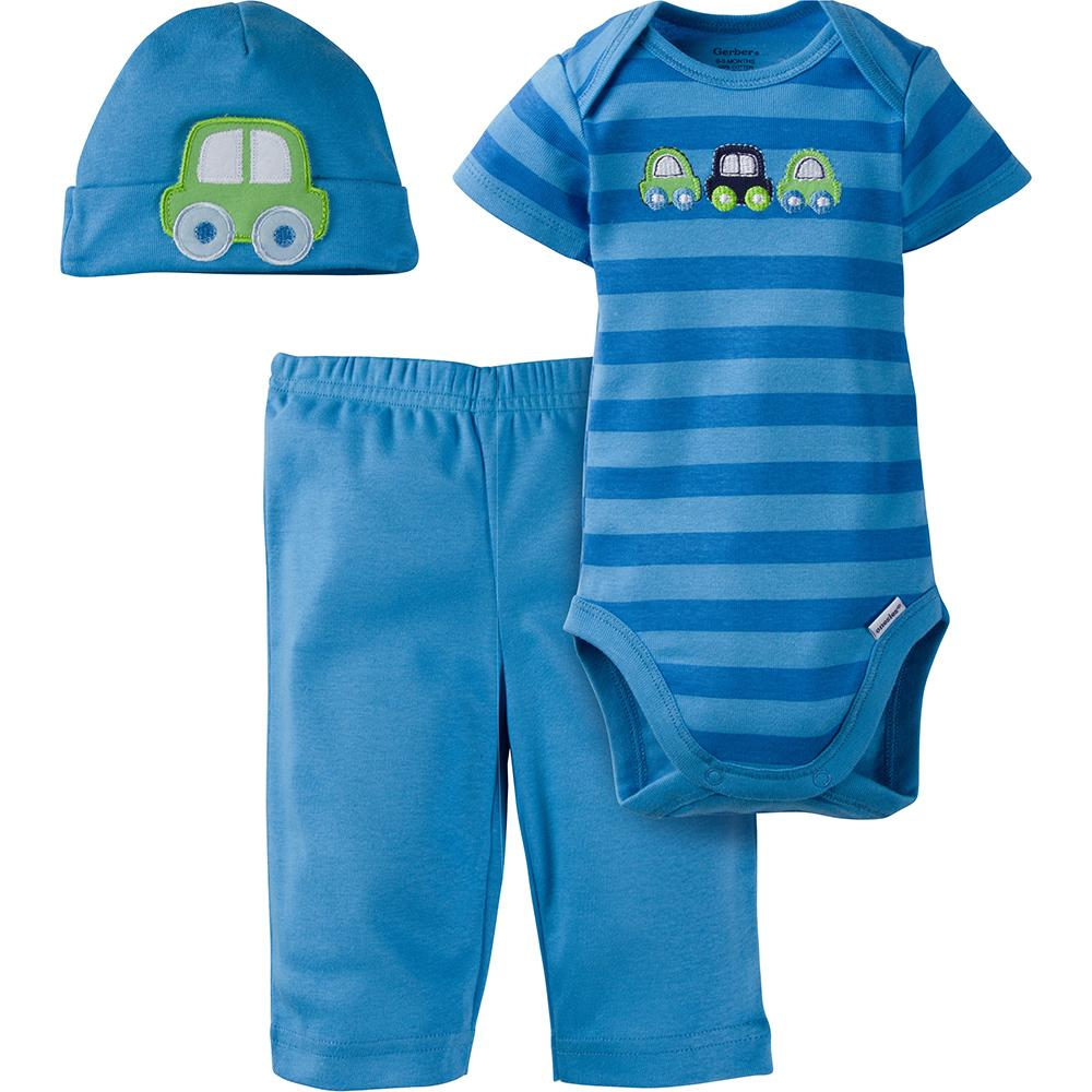 3-Piece Boys Car Bodysuit & Pant Set