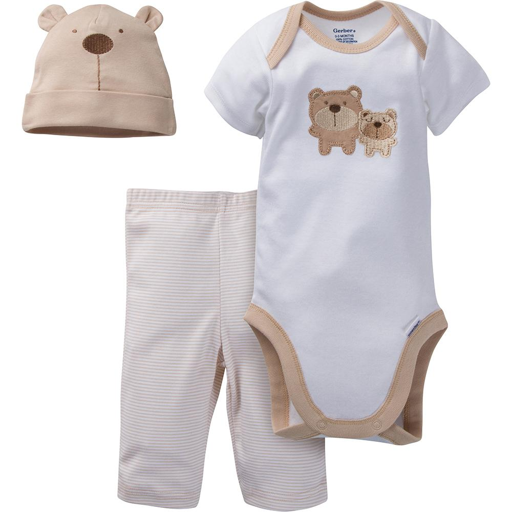 3-Piece Neutral Brown Bear Bodysuit & Pant Set-Gerber Childrenswear