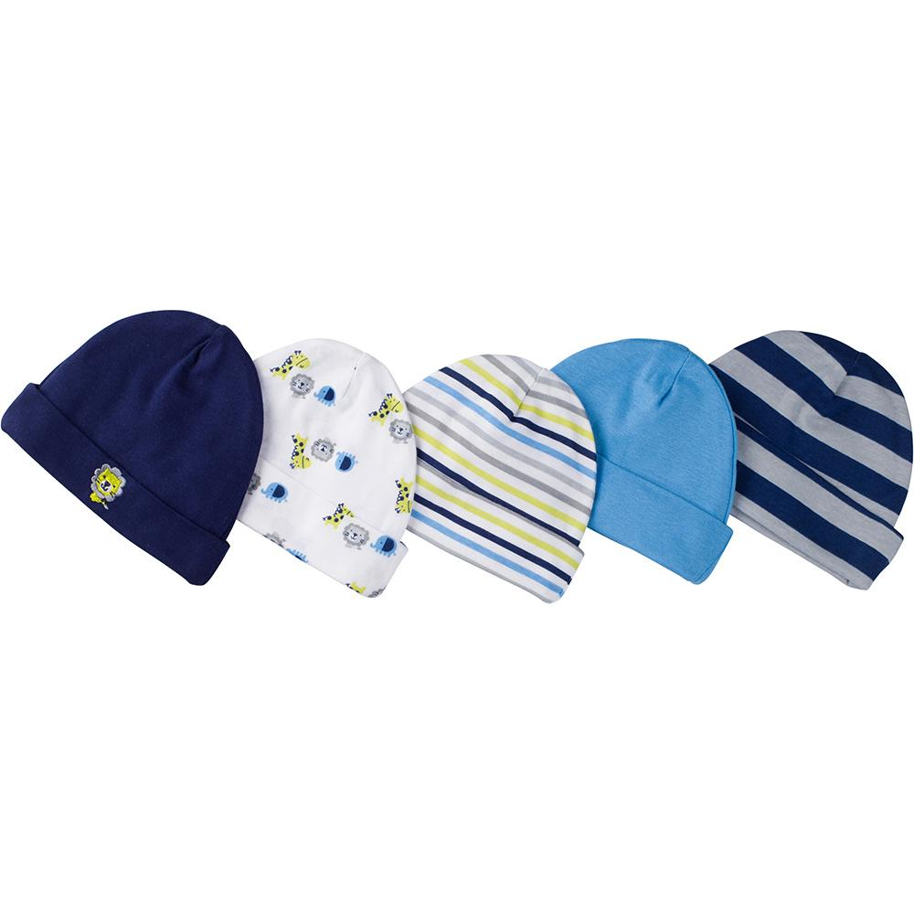 Gerber® 5-Pack Baby Boy Jungle-Themed Caps-Gerber Childrenswear