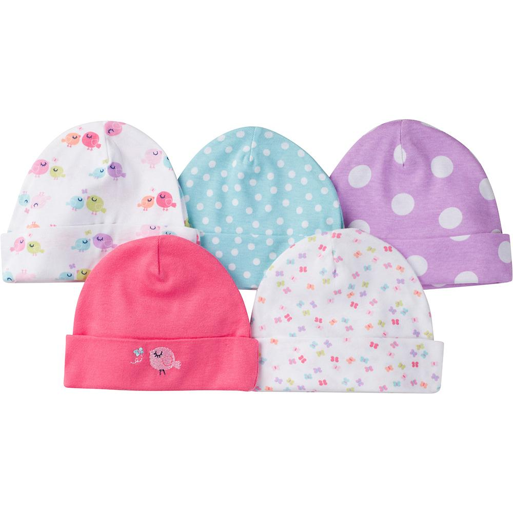 Gerber® 5-Pack Girls Little Bird Caps-Gerber Childrenswear
