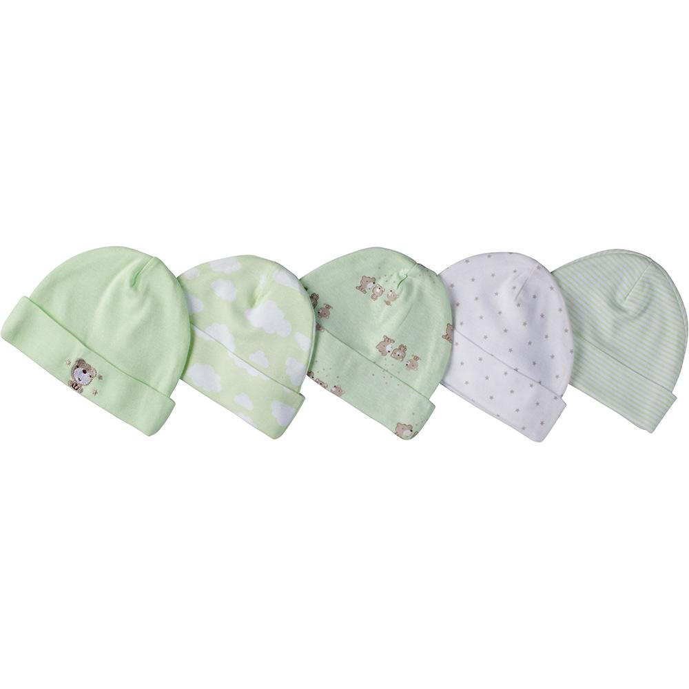 5-Pack Neutral Mint Green Bear Caps-Gerber Childrenswear