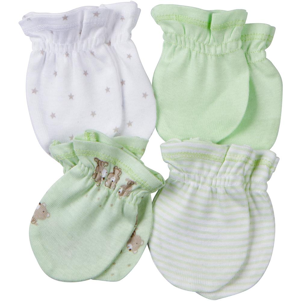 4-Pack Neutral Mint Green Bear Mittens-Gerber Childrenswear