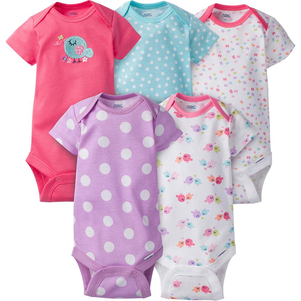 5-Pack Girls Bird Onesies® Brand Short Sleeve Bodysuits-Gerber Childrenswear