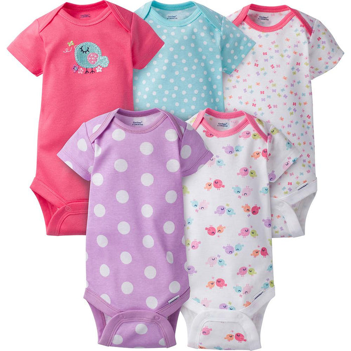 61b5e1fa0bd8 5-Pack Girls Bird Onesies reg  Brand Short Sleeve Bodysuits – Gerber ...