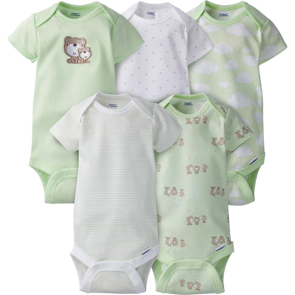 346663276 5-Pack Neutral Mint Green Bear Onesies® Brand Short Sleeve Bodysuits