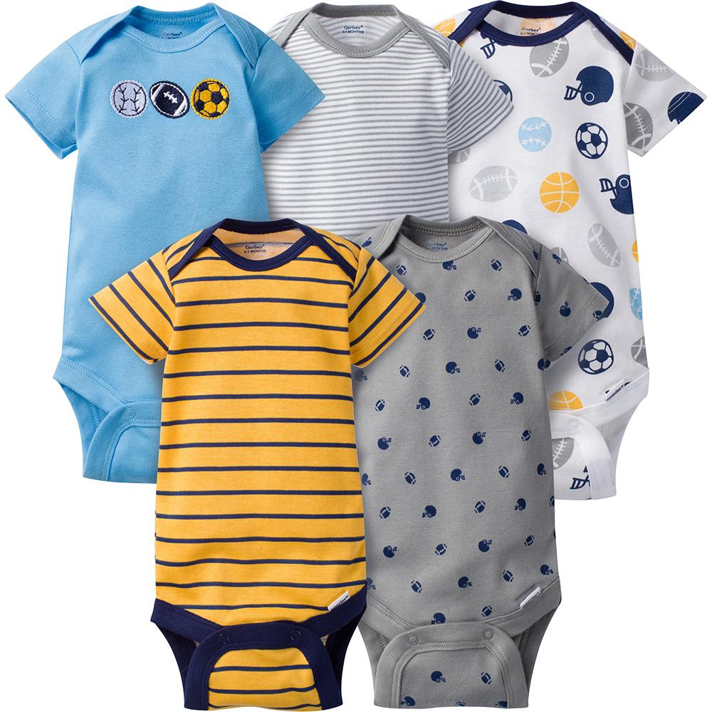 5-Pack Boys Sports Onesies® Brand Short Sleeve Bodysuits-Gerber Childrenswear