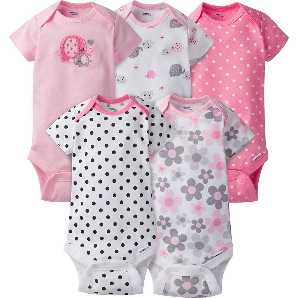 5-Pack Girls Elephant Onesies® Brand Short Sleeve Bodysuits-Gerber Childrenswear