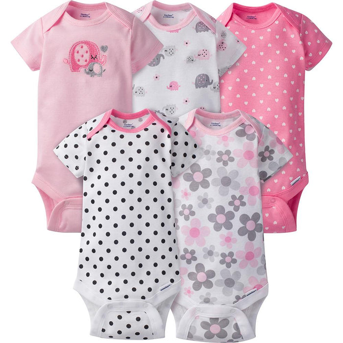 f4e89934a 5-Pack Girls Elephant Onesies reg  Brand Short Sleeve Bodysuits – Gerber  Childrenswear
