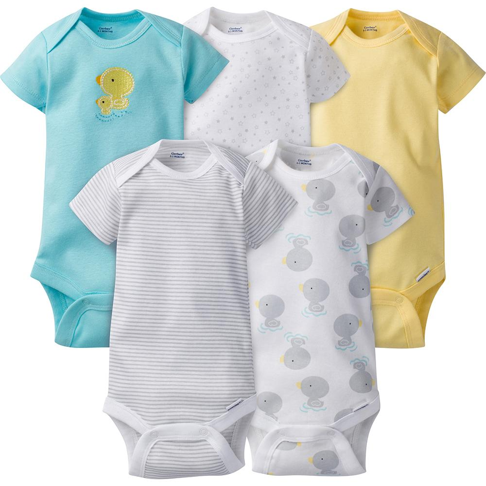 5-Pack Neutral Duck Onesies® Brand Short Sleeve Bodysuits