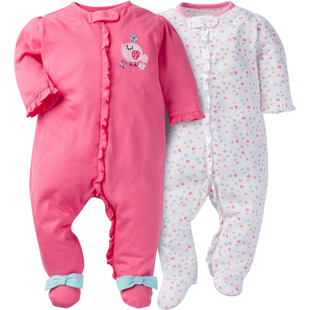 2-Pack Girls Bird Ruffle Front Sleep N' Play-Gerber Childrenswear