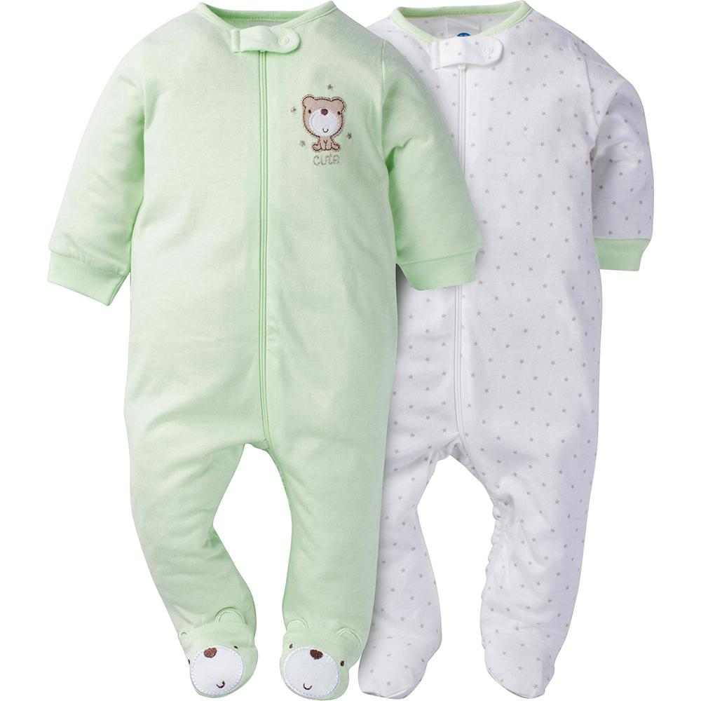 2-Pack Neutral Mint Green Bear Footed Sleep N' Play