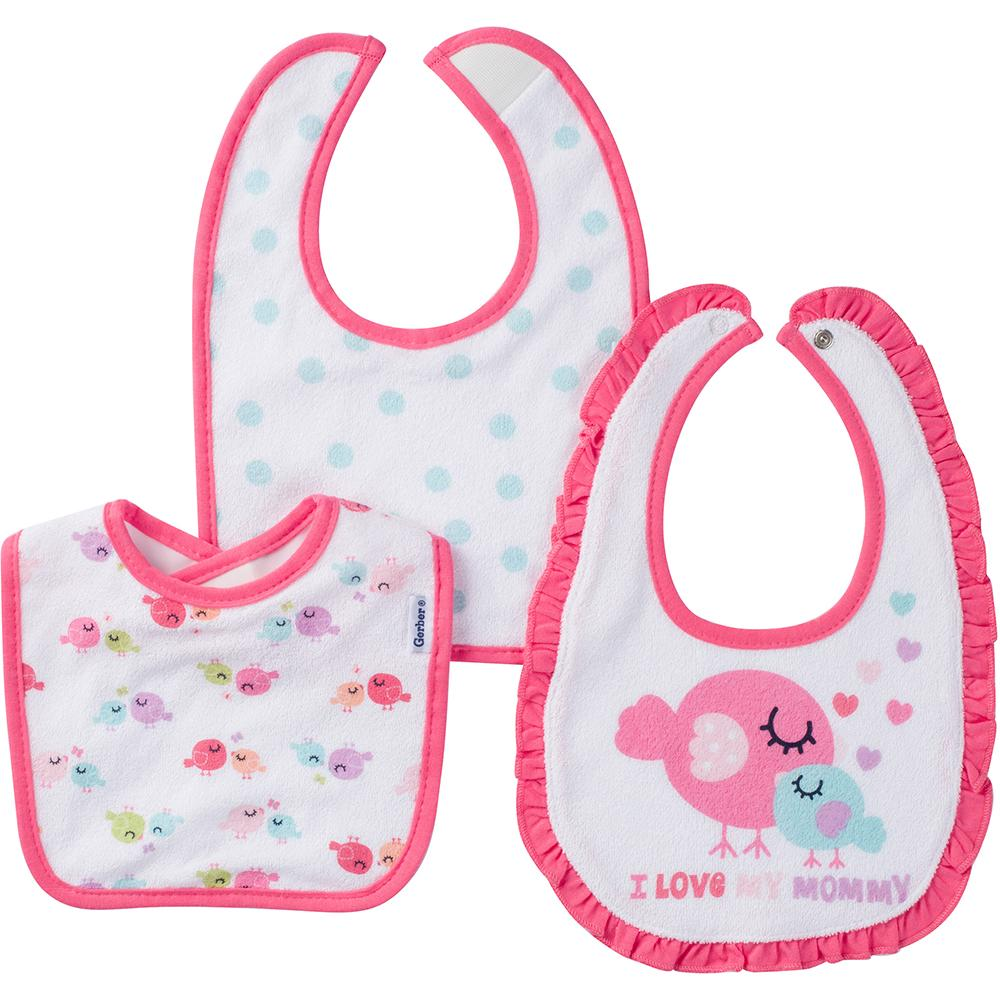 3-Pack Girls Bird Terry Dribbler Bibs-Gerber Childrenswear
