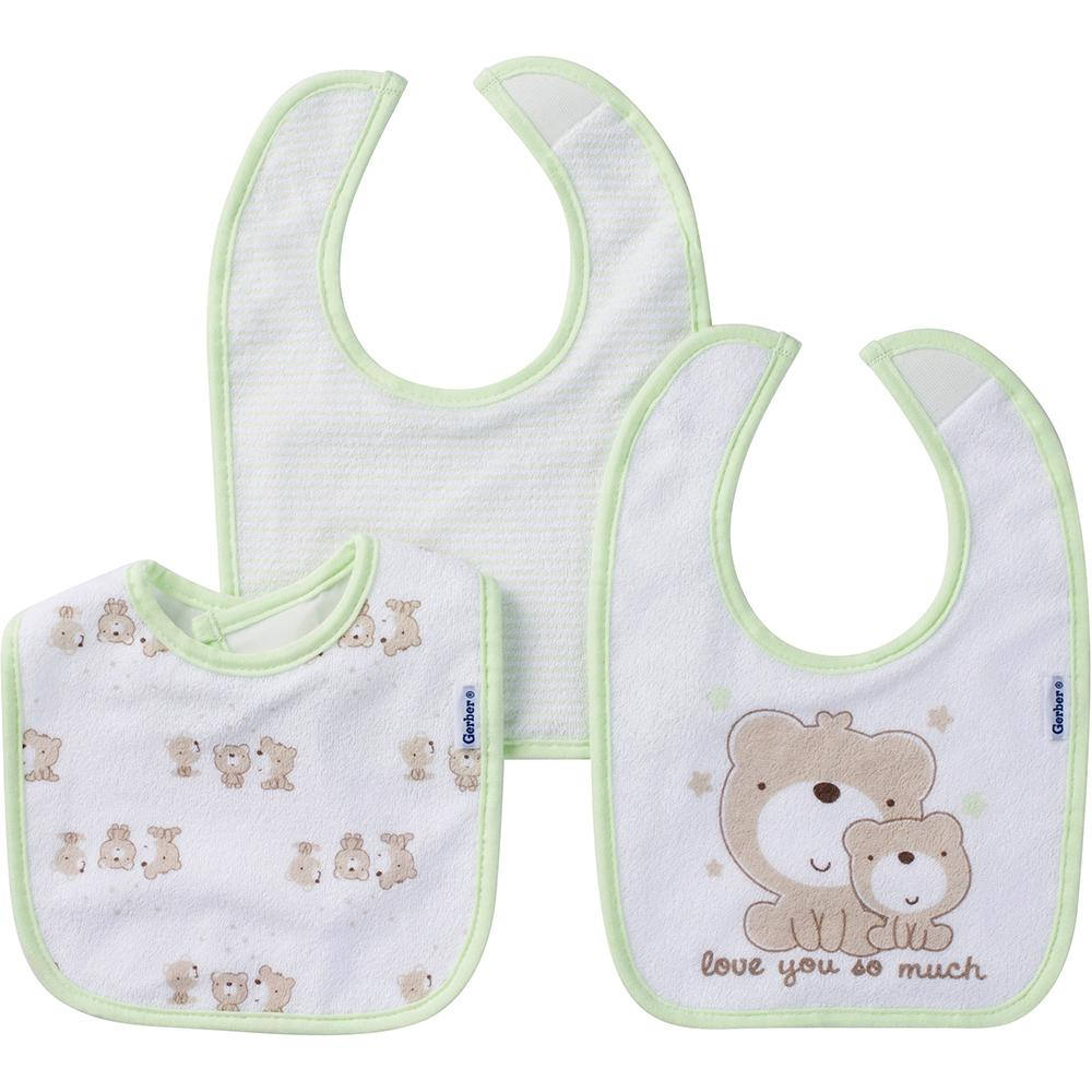 3-Pack Neutral Mint Green Bear Terry Dribbler Bibs-Gerber Childrenswear