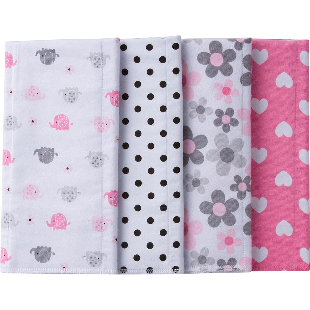 4-Pack Girls Elephant Flannel Burpcloths