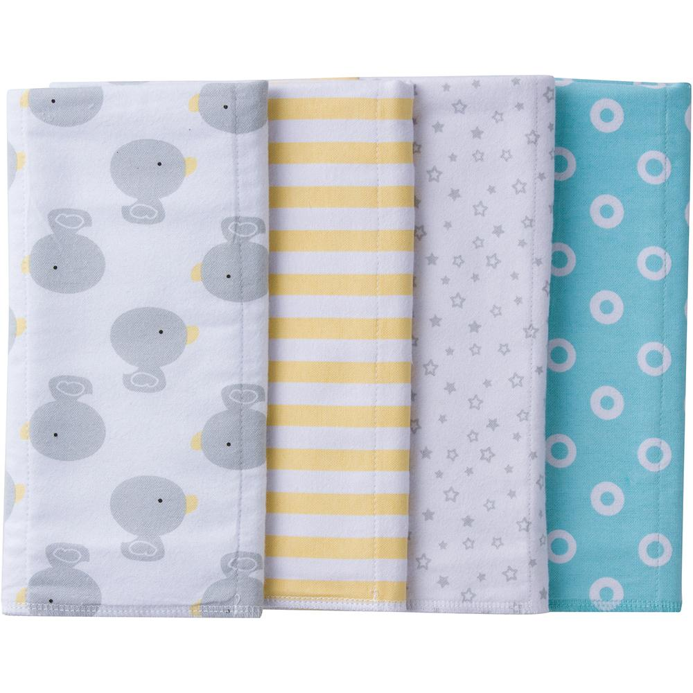 4-Pack Neutral Ducks Flannel Burpcloths