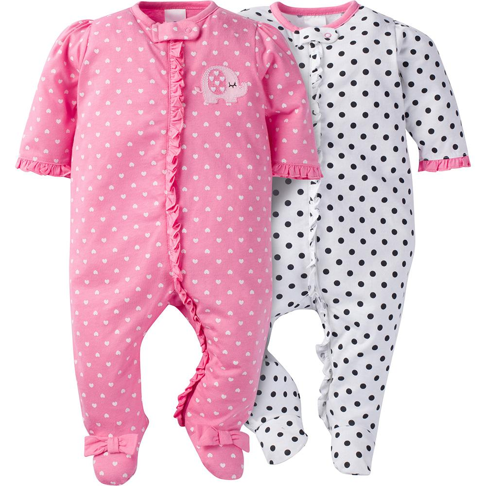 2-Pack Girls Elephant Ruffle Front Sleep N' Play-Gerber Childrenswear