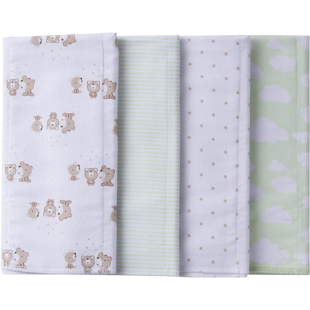 4-Pack Neutral Mint Green Bear Flannel Burpcloths