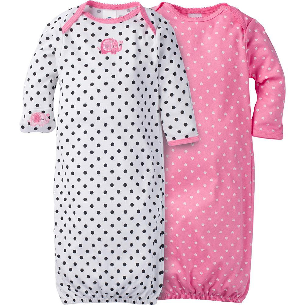 2-Pack Girls Elephant Mitten Cuff Gowns-Gerber Childrenswear