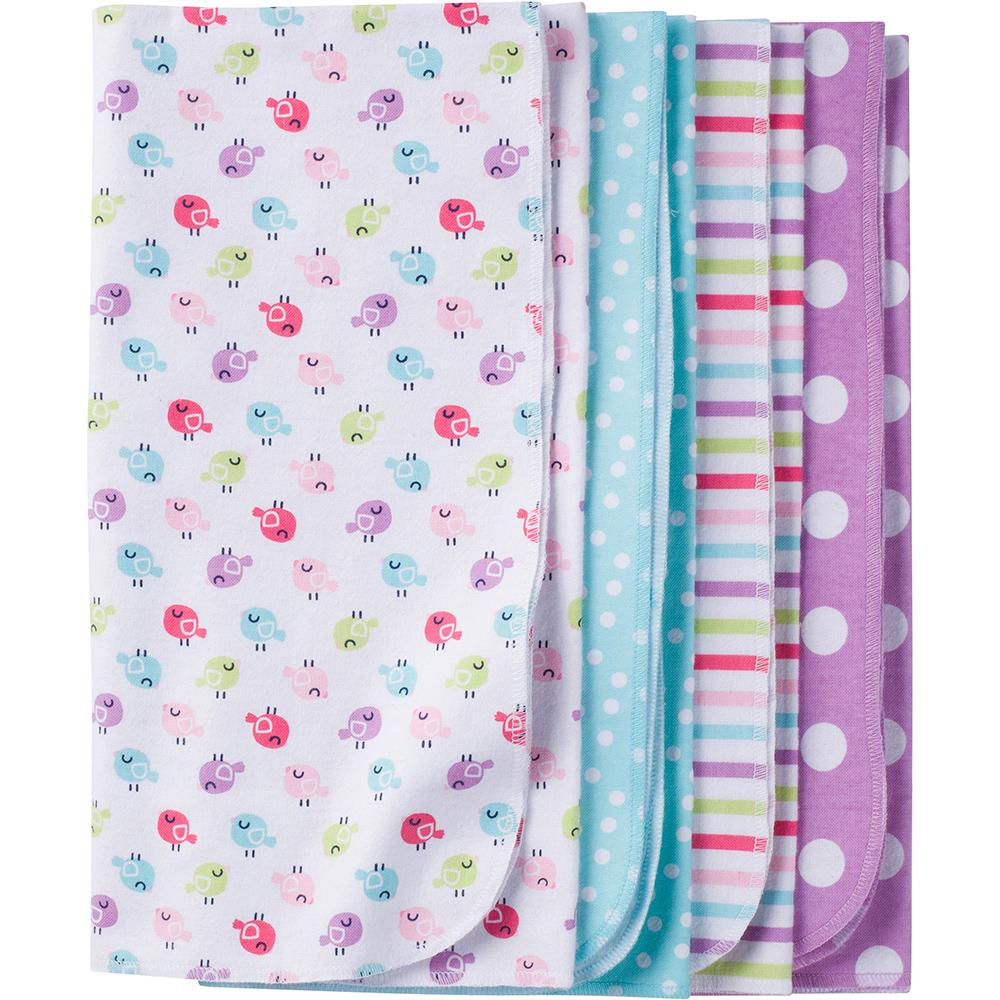 4-Pack Girls Little Bird Flannel Receiving Blankets-Gerber Childrenswear