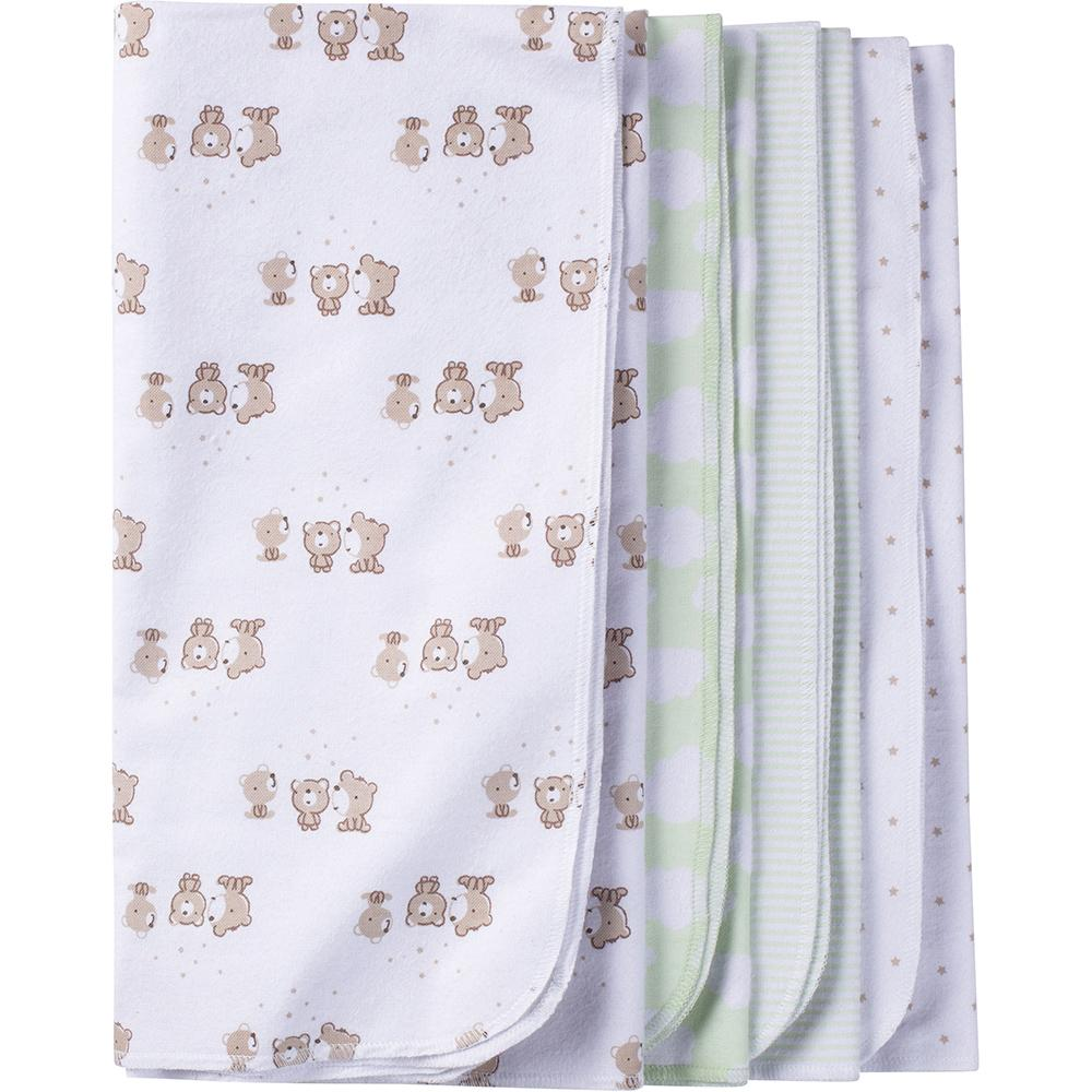 4-Pack Neutral Mint Green Bear Flannel Receiving Blankets-Gerber Childrenswear