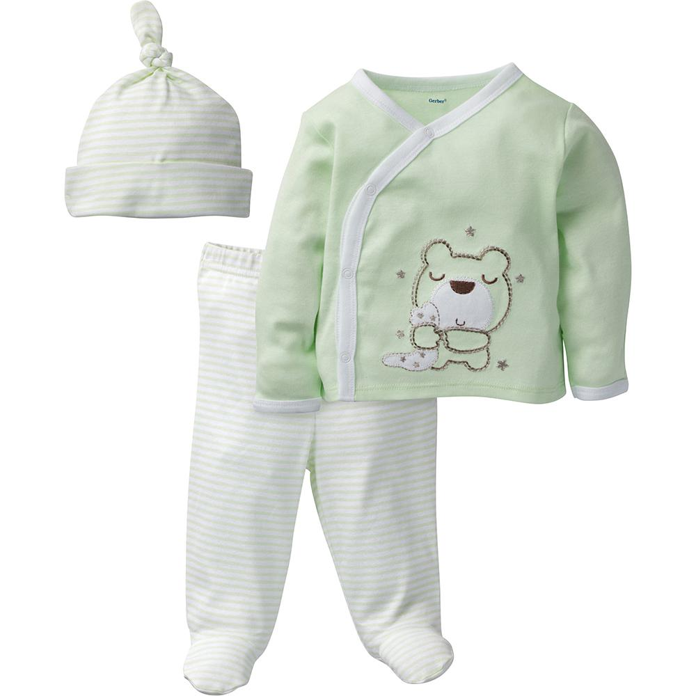 3-Piece Neutral Mint Green Bear Take-Me-Home Set-Gerber Childrenswear